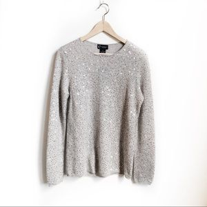 NWT C by Bloomingdales Cashmere Sequins Sweater